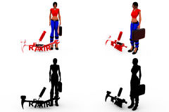 3d woman repair tools concept Collections With Alpha And Shadow Channel Royalty Free Stock Photography