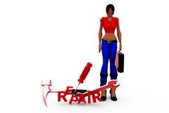 3d woman repair tools concept Royalty Free Stock Photos