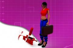 3d woman repair tools illustration Royalty Free Stock Photo