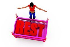 3d woman rest concept Stock Images