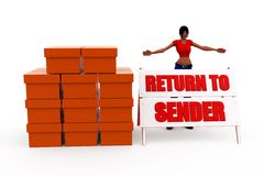3d woman return sender concept Stock Photos
