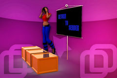 3d woman return to sender illustration Royalty Free Stock Photo