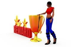 3d woman reward concept Royalty Free Stock Photography