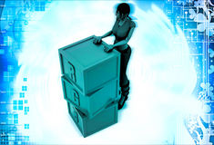 3d woman with RGB cube illustration Royalty Free Stock Image