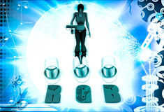 3d woman with rgb paint illustration Stock Images