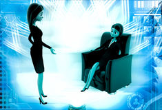 3d woman rich master order to assistant illustration Stock Photo