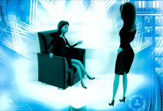 3d woman rich master order to assistant illustration Royalty Free Stock Photography