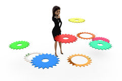 3d woman right gear problem concept Stock Image