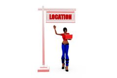 3d woman right location  concept Stock Photography
