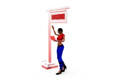 3d woman right location  concept Royalty Free Stock Photography