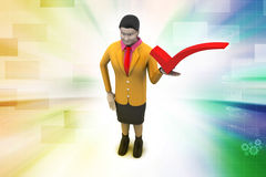 3d woman with right mark, success concept Stock Photos