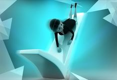 3d woman on right symbol illustration Royalty Free Stock Image