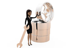 3d woman with rims concept Stock Image