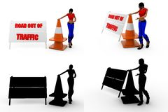 3d woman road traffic Concept Collections With Alpha And Shadow Channel Stock Images