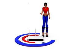 3d woman rounter network concept Stock Image