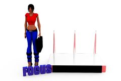 3d woman router focus concept Stock Images