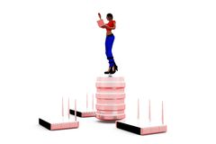 3d woman router server concept Stock Photography
