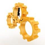 3d woman running inside golden gear wheel concept Royalty Free Stock Photography