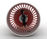 3d woman running inside plane engine concept Royalty Free Stock Images
