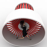 3d woman running inside plane engine concept Royalty Free Stock Photos