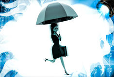 3d woman running for office with pink umbrella and briefcase illustration Royalty Free Stock Images