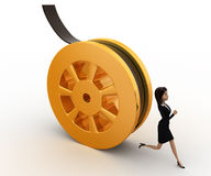 3d woman running from rolling film roll after her concept Royalty Free Stock Photography
