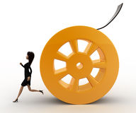 3d woman running from rolling film roll after her concept Royalty Free Stock Images