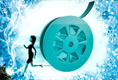 3d woman running from rolling film roll after her illustration Royalty Free Stock Photo
