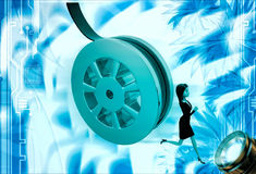 3d woman running from rolling film roll after her illustration Royalty Free Stock Images
