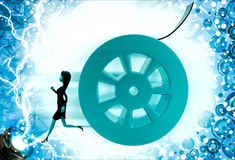 3d woman running from rolling film roll after her illustration Stock Photos