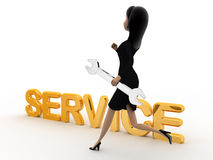 3d woman running toward service text with wrench concept Royalty Free Stock Photos