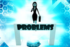 3d woman running towards hurdle with problem text illustration Royalty Free Stock Images