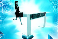 3d woman running towards hurdle with problem text illustration Royalty Free Stock Photography