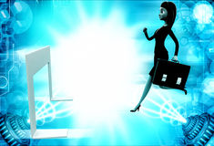 3d woman running towards hurdle with problem text illustration Royalty Free Stock Photos