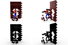 3d woman running through  wall concept Collections With Alpha And Shadow Channel Stock Images
