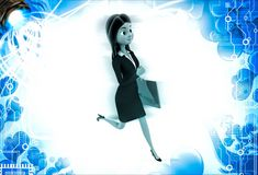 3d woman running with work file folder illustration Stock Photography