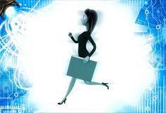 3d woman running with work file folder illustration Stock Photo