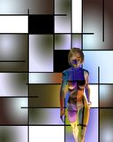 3D woman`s model in art space. Human elements were created with 3D software and are not from any actual human likenesses royalty free illustration
