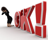 3d woman sab, in tension and standing in front OK text with exclamation mark concept Royalty Free Stock Photos