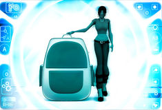 3d woman with school bag illustration Royalty Free Stock Images