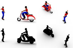 3d woman with scooter Concept Collections With Alpha And Shadow Channel Royalty Free Stock Images