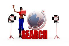 3d woman search concept Royalty Free Stock Photo