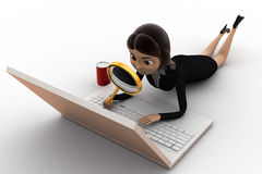 3d woman search on laptop concept Royalty Free Stock Photo