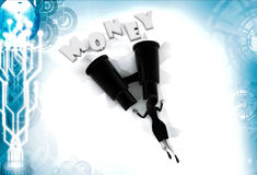 3d woman search money with big binocular illustration Stock Photography