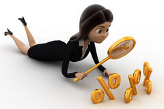 3d woman searching for percent giscount  using golden magnifying glass concept Stock Photos