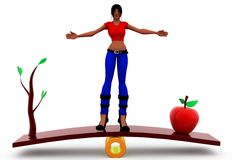 3d woman seasaw concept Stock Images