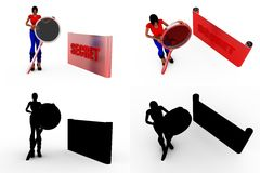 3d woman secret search Concept Collections With Alpha And Shadow Channel Royalty Free Stock Photos