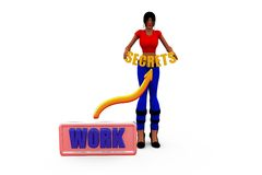 3d woman secret work concept Royalty Free Stock Image