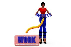 3d woman secret work concept Royalty Free Stock Photography