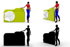 3d woman secure file concept collections with alpha and shadow channel Stock Images